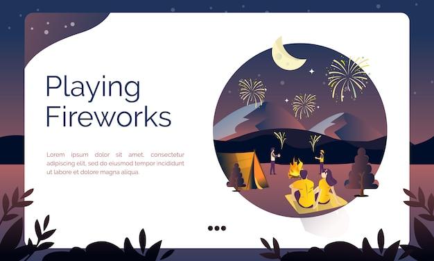 Ilustração para a página de destino, jogando fogos de artifício