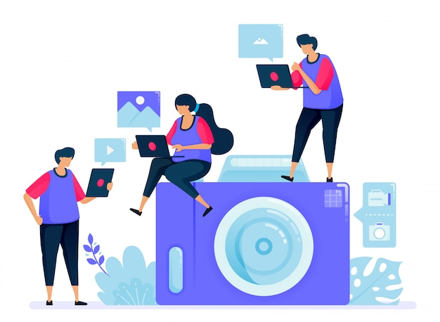Ilustração para câmera digital ou câmera de bolso. câmera de desenho simples. compartilhando e enviando fotos um para o outro.