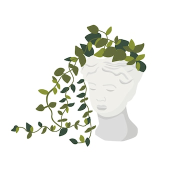 Ilustração para cartões convites cerâmica de flores em vaso de rosto