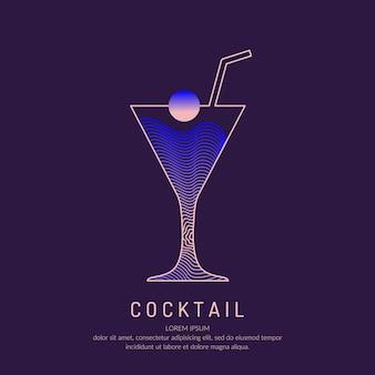 Ilustração para cocktail alcoólico de menu de bar. desenho de linha de uma bebida