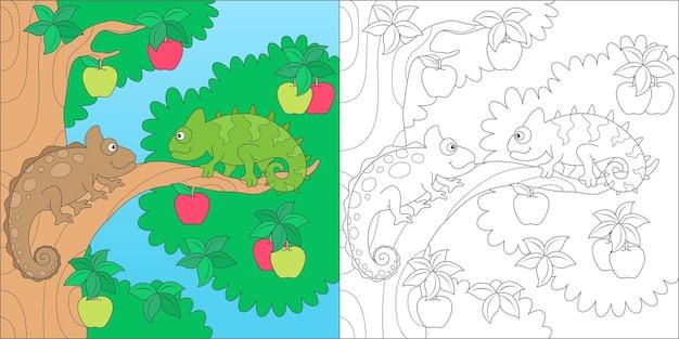 Ilustração para colorir camaleão