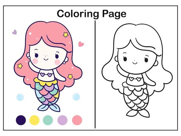 Ilustração para colorir desenho animado princesa sereia kawaii