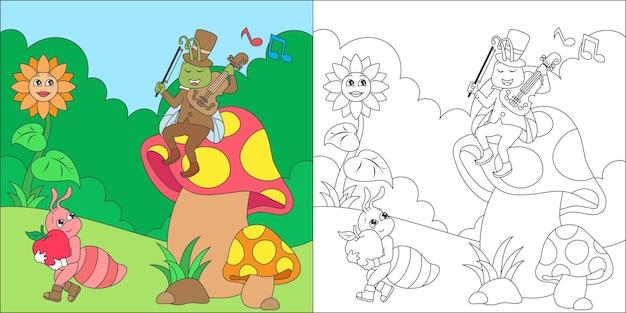 Ilustração para colorir grampos e formigas