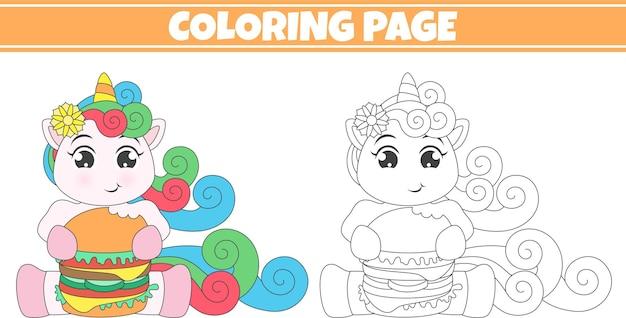 Ilustração para colorir unicórnio comendo hambúrguer