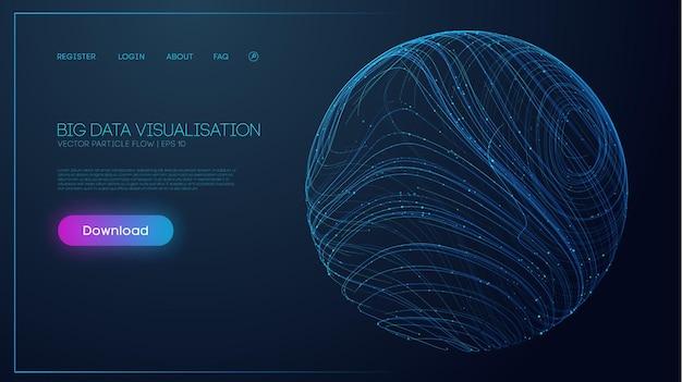 Ilustração para design de conceito código binário onda futurista conceito de ciência de dados rede cibernética t