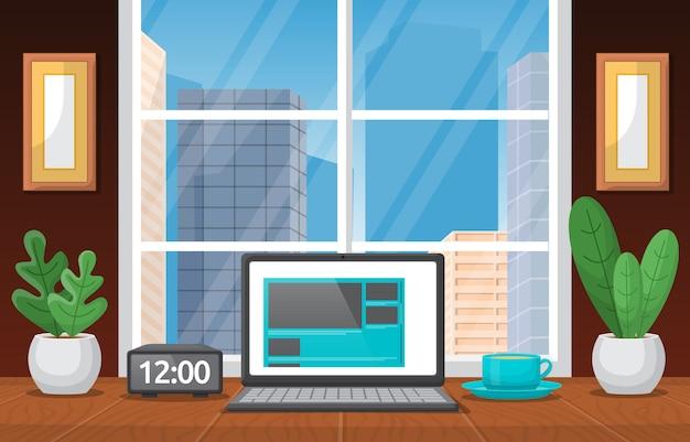Ilustração para laptop xícara de café na bancada de trabalho de escritório