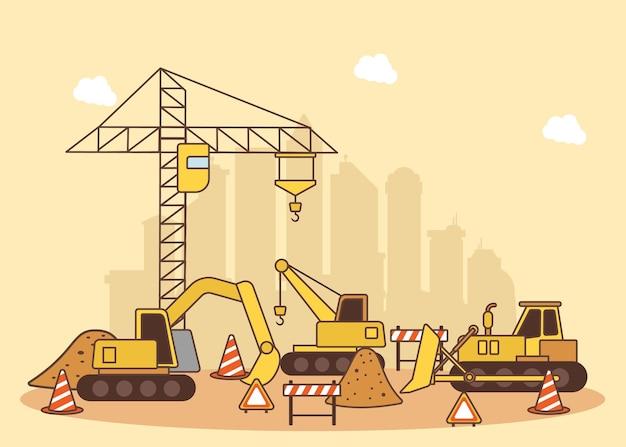 Ilustração para maquinário de construção civil