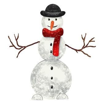 Ilustração para o ano novo: um boneco de neve com um lenço vermelho e um chapéu-coco preto com galhos nas mãos e uma cenoura no nariz