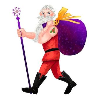Ilustração para o ano novo: um papai noel moderno com um corte de cabelo na moda e uma boa figura atlética com uma tatuagem carrega uma sacola de presentes no ombro e segura um bastão na mão