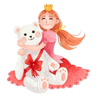 Ilustração para o ano novo, uma menina com cabelo comprido em uma coroa, uma princesa e um vestido rosa recebeu como presente um grande ursinho de pelúcia branco amarrado com um laço vermelho