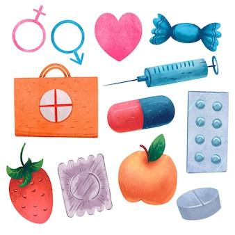 Ilustração para o dia da saúde sexual, gênero, pílulas, amor, doces, seringa, kit de primeiros socorros, cápsula, morango, pêssego ou maçã, preservativo