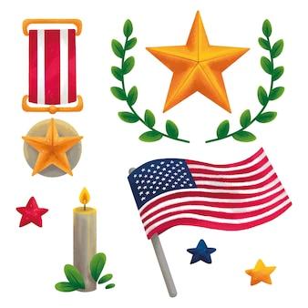Ilustração para o dia do patriota 11 de setembro memória da américa, medalha, bandeira da américa, estrela, coroa de flores, vela, estrelas