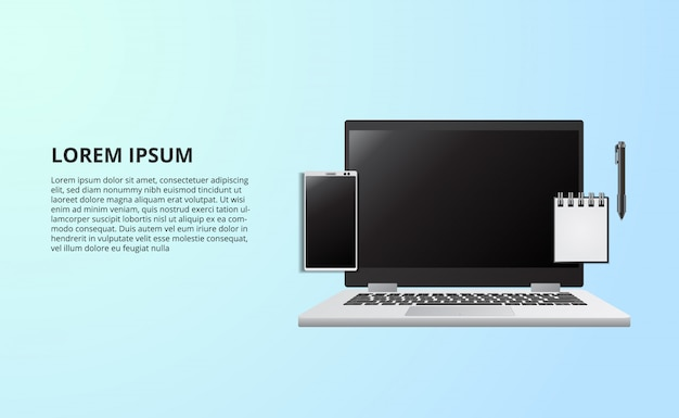 Ilustração para o escritório de trabalho freelance de conceito de negócio com o notebook laptop da vista superior