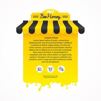 Ilustração para publicidade de produtos de mel da apicultura