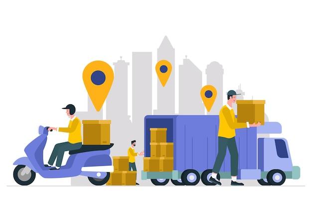 Ilustração para serviço de entrega com motos e caminhões