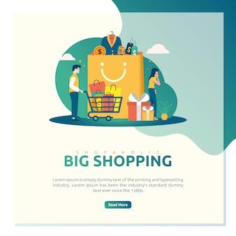 Ilustração para shopaholic, grandes compras para página de destino ou modelo de postagem de conteúdo