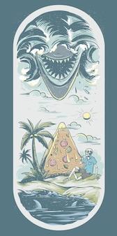 Ilustração para skate com praia e tubarão