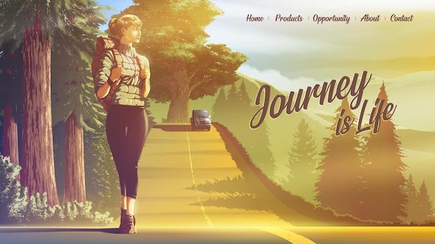 Ilustração para uma página de destino da mulher mochileira viajando sozinha e caminhando na estrada