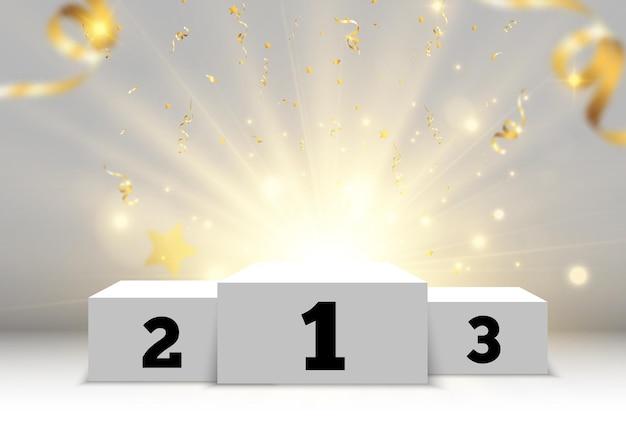 Ilustração para vencedores de prêmios pedestal ou plataforma para homenagear vencedores de prêmios