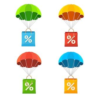 Ilustração paraquedas colorido com conjunto de ícones de venda de saco de papel.
