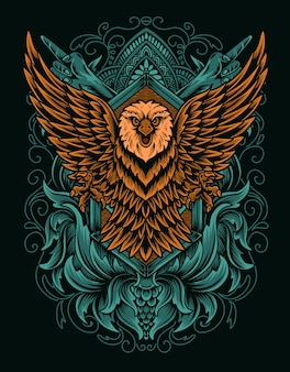Ilustração pássaro águia na superfície branca