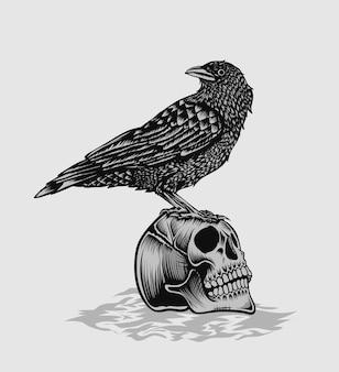 Ilustração pássaro corvo com cabeça de caveira