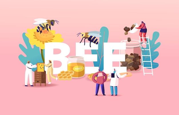Ilustração people raça abelhas, extraindo mel