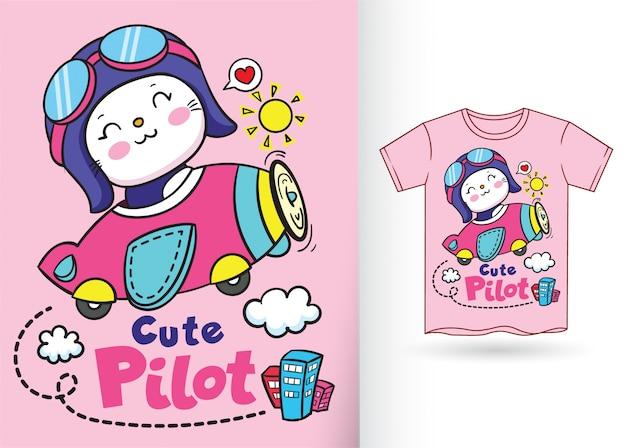 Ilustração pequena bonito do gato piloto para o tshirt