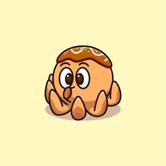 Ilustração pequeno bonito do polvo takoyaki