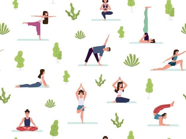 Ilustração perfeita de ioga padrão sem emenda
