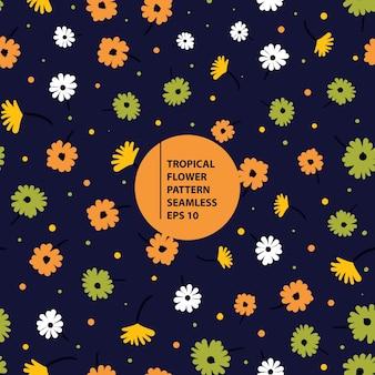 Ilustração perfeita de padrão de flor tropical fofa