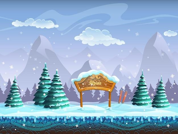 Ilustração perfeita dos desenhos animados com paisagem de inverno e esqui