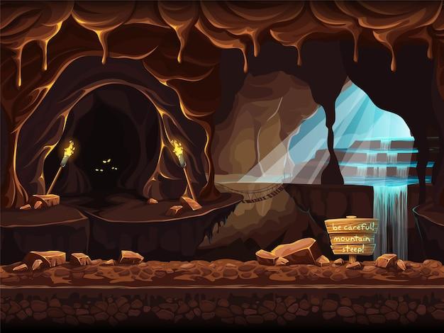 Ilustração perfeita dos desenhos animados de uma cachoeira mágica em uma gruta.
