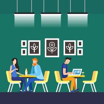 Ilustração permanente do vetor de coworking dos inquilinos.