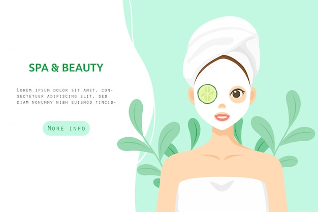 Ilustração personagem cuidados com a pele saudável, cosmético, banner beleza mulher personagem vector