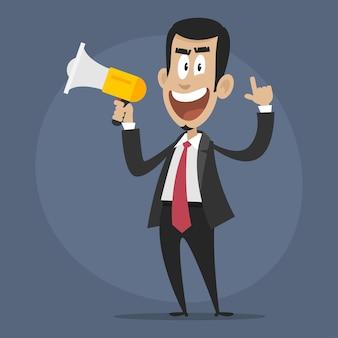 Ilustração, personagem empresário descontente fala em megafone, formato eps 10