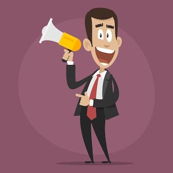 Ilustração, personagem empresário feliz fala em megafone, formato eps 10