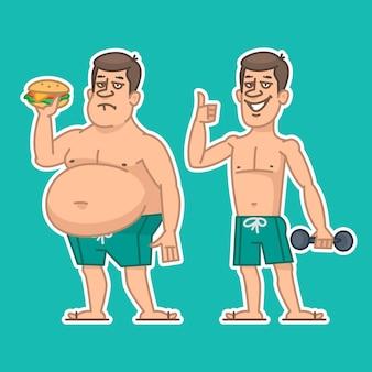 Ilustração, personagens de homens grossos e magros, formato eps 10