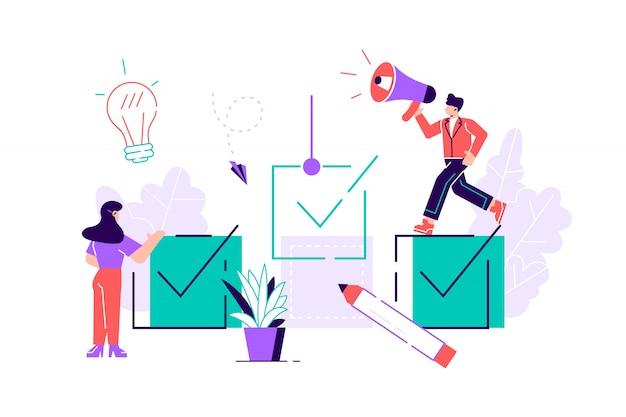 Ilustração. personagens de pessoas pequenas fazem um design de negócios gráficos tarefas agendamento-vetor. ilustração de estilo plano de design moderno para página da web, banner, cartões, cartaz, mídia social