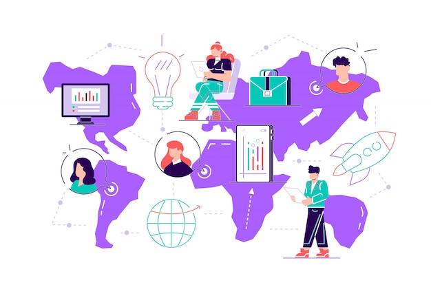 Ilustração personagens de um grupo de pessoas estão pensando em uma idéia. prepare um projeto de negócios para iniciar. ascensão da carreira para o sucesso, ícones de cores planas, análise de negócios. estilo simples e moderno.