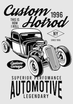 Ilustração personalizada do projeto de hotrod