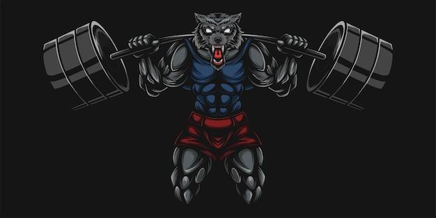 Ilustração pesada de lobo e haltere