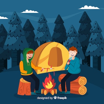 Ilustração, pessoas, acampamento, natureza