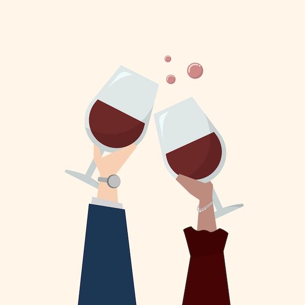 Ilustração, pessoas, bebendo, vinho
