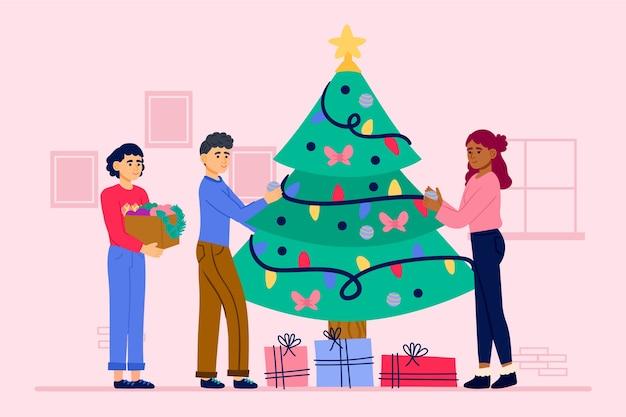 Ilustração pessoas decorando a árvore de natal com enfeites