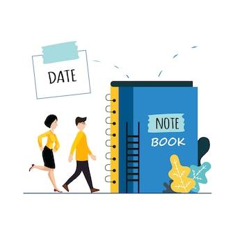 Ilustração pessoas na livraria, leitura e caminhar juntos.