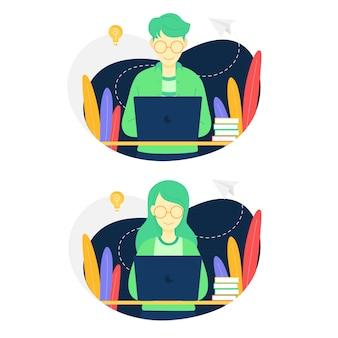 Ilustração, pessoas, usando, laptop