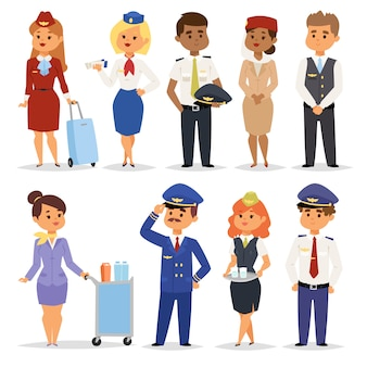 Ilustração pilotos comissários de bordo.