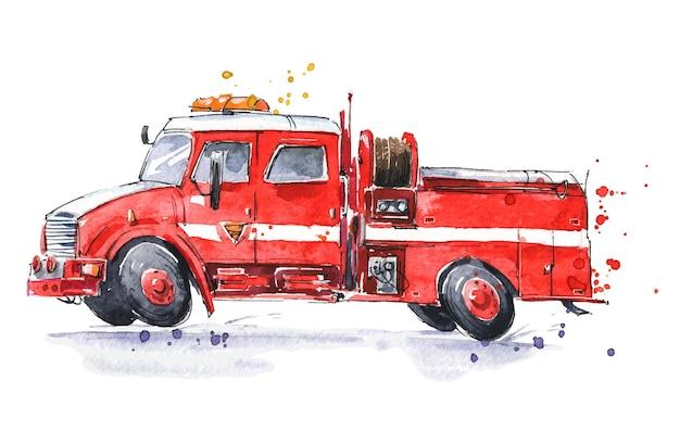 Ilustração pintada à mão em aquarela de caminhão de bombeiros vermelho de plantão