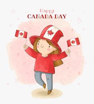 Ilustração pintada à mão em aquarela do dia do canadá